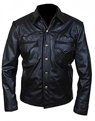 classyak Herren Fashion Schlankes Design Special Knopfverschluss Leder Jacke Sheep Black