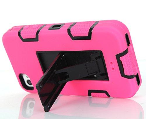 iPhone 4 4s Hülle, FindaGift 3 in 1 Hybride Handycover Hartschale Cover Roboter Guard Schutzhülle Innere PC Case Weich Silikon Back Rüstung Ganzkörper-Schutz [Bruchsicher] [Anti-Rutsch] Handytasche mi Hot Pink + Schwarz