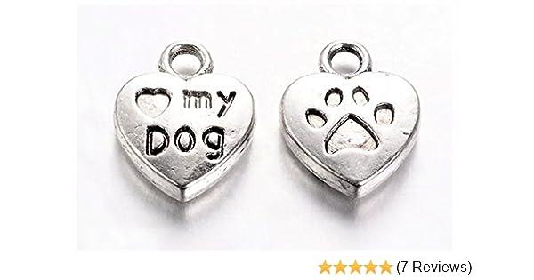 BRONZE COLOUR CHARMS PENDANT TIBETAN ANTIQUE PAW PRINT HEART LOVE MY DOG CHARM