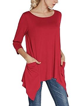 Urban GoCo Donna Casual Maglietta con Manica a 3/4 Tunica Camicetta Lunga con Tasche Plus Size