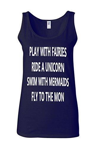 Play With Fairies Ride A Unicorn Novelty White Femme Women Tricot de Corps Tank Top Vest Bleu Foncé