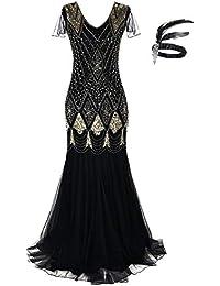 Women 1920s Gatsby Flapper Dress Long Prom Gown Beaded Sequin Mermaid Hem Ball Evening Costume Plus Size GA80