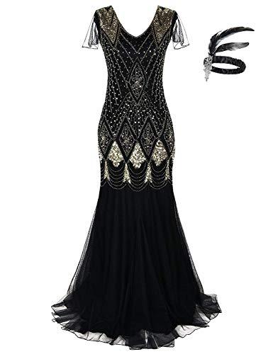 Generic Women 1920s Long Prom Gown Beaded Sequin Mermaid Hem Ball Evening Dress with Sleeve Headband Free (Black Gold, 2XL)