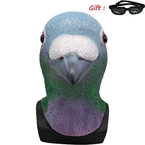 Kostüm Pfau Für Deluxe Erwachsene Größe - Nightghost Halloween Vogel Schnabel Maske, Deluxe Neuheit Halloween Kostüm Party Pfau Taube Papagei Perücke Tier Zoo Helm für Erwachsene Kinder.