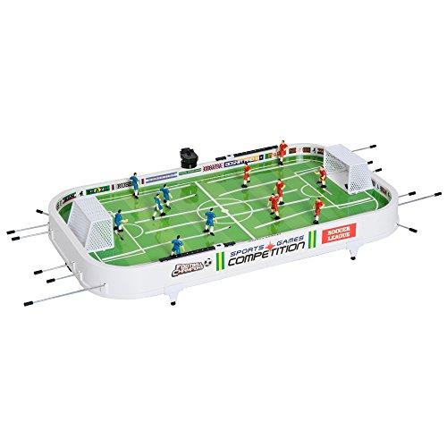 Homcom Set Fútbol Sobremesa Juego Mesa de Fútbol con Jugadores Móviles Futbolín para Niño +3 Años y Adultos 93.5x51x16.5cm PP