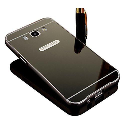 Vandot Premium Lusso Ultra Slim Thin Custodia Specchio in Alluminio per Samsung Galaxy J5 (2016 Version) Mirror Protettivo Metallo Bumper Cover Rigida Alluminio Metallo Specchio Back Cover Bumper Mirror Case Skin Shell per Samsung Galaxy J5 (2016 Version) - Nero - Kit Fit Specchio
