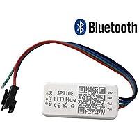 VIPMOON DC 5-24V SP110E Controlador Bluetooth, Controlador de luz Bluetooth Aplicación Smart iOS/Android 1024 píxeles para WS2811, WS2812B, WS2813, SK9822, APA102 RGB/RGBW Luz de tira LED