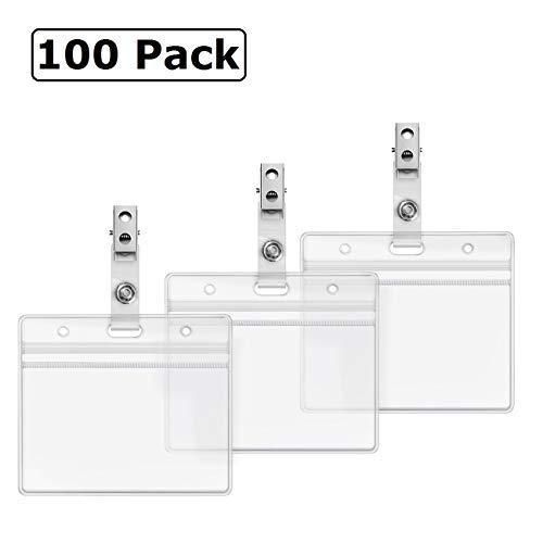 Klar Kunststoff Halterung für Namensschild und Metall Badge Clips mit Vinyl Trägern Wasserdichter PVC-ID Karte von zhegui 100 Pack Horizontal 2.3x3.5 - Id-abzeichen-träger