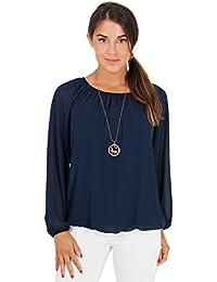 KRISP® Damen Luftige Chiffon Bluse inklusive Modeschmuck