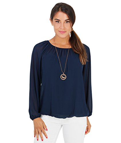KRISP Damen Luftige Chiffon Bluse inklusive Modeschmuck Marineblau (7504)