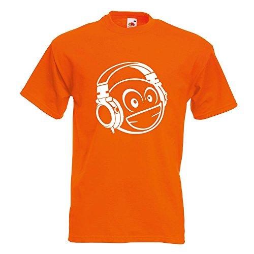 KIWISTAR - Smiley Smilie mit Köpfhörerm T-Shirt in 15 verschiedenen Farben - Herren Funshirt bedruckt Design Sprüche Spruch Motive Oberteil Baumwolle Print Größe S M L XL XXL Orange
