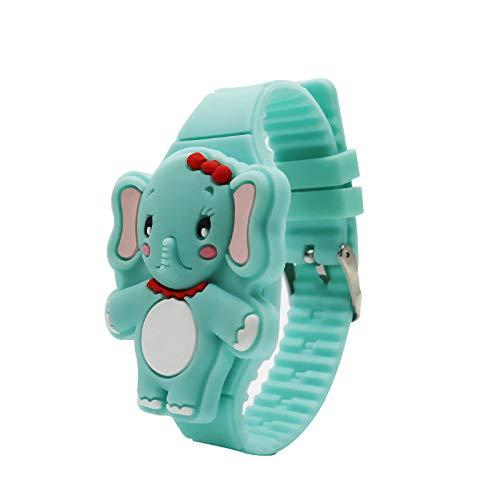 Kinder LED Elektronische Uhr Jungen & Mädchen Silikon Band Cartoon Elefant Flip Fall Armbanduhr Lernspielzeug Liefert für Christms Geburtstagsgeschenke