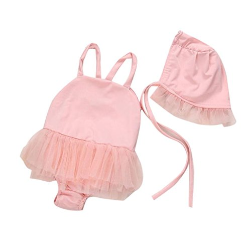 ESAILQ Swimsuit Set, Bathing Suit+Hat Set Toddler Baby Girls Tankini Bikini Girls Essential Endurance+ Medalist Swimsuit