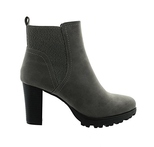 King Of Shoes Damen Stiefeletten Ankle Boots Plateau Stiefel Schuhe 74 (36, Grau)