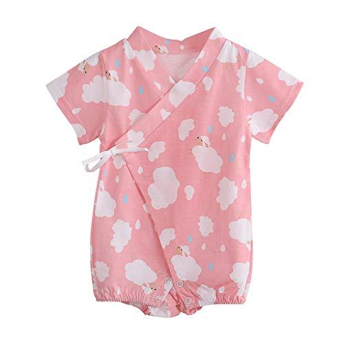 iHAZA Neugeborene Säugling Baby Kurzarm KarikaturStrampler OverallKimono Kleider