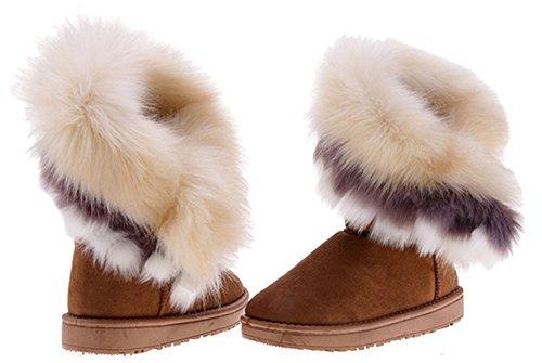 Très chic mailandaHalbshaft gefutterte bottes bottes fourrées femme court hiver fourrure bottes winterboots bottines - Braun-Weiss