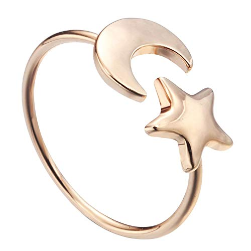 YDMSGSB Ring Little Star Moon Alloy Lady Eröffnung Verstellbares Ornament ()