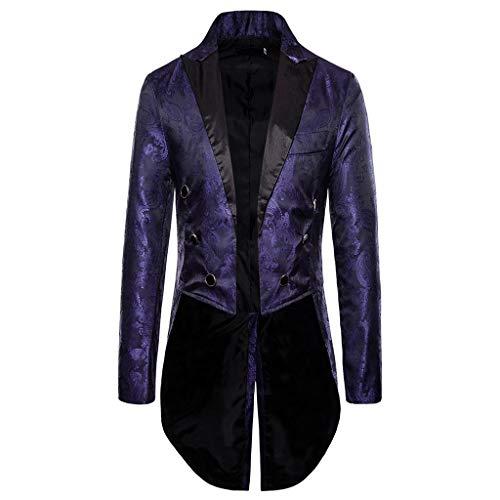 Fenverk Gotisch Viktorianisch Frack Steampunk VTG Mantel Jacke Halloween Cosplay Kostüm,Herren Gothic Jacke Vintage Viktorianischen Langer Kostüm Cosplay Kostüm Smoking Uniform(Lila,S)