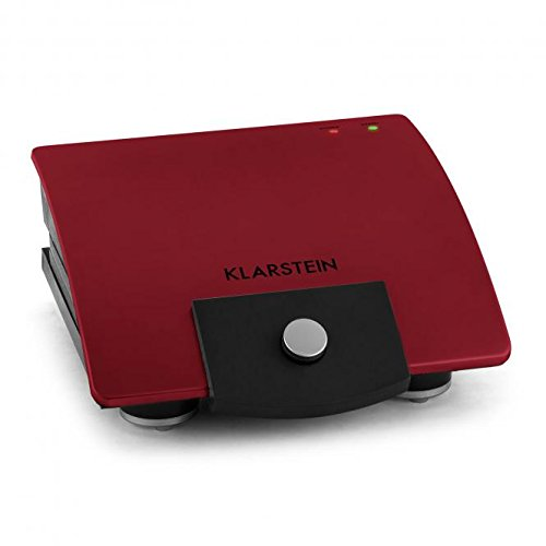 Klarstein Sandwich-Buddy Sandwich Maker in High-Quality Design with Automatic Heat Regulation and 2 Patternet Heating Plates with Non-Stick Coating Stainless Steel (700W, 2 Heating Surfaces, Only 2-3 Minutes Preparing Time) Red