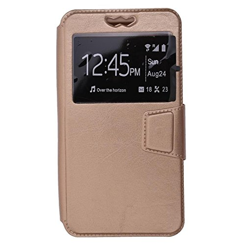 Shopme Premium PU Leather Flip cover for Panasonic P81 (GOLD COLOR ) (Slider for Taking Snaps, Caller ID Window,100% Camera Protection)  available at amazon for Rs.299