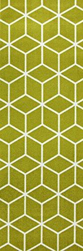 ONLOOM Küchenläufer in graphischen und geometrischen Designs, robuste Läufer in vielen Farben & unterschiedlichen Designs, schadstoffgeprüfter Teppichläufer, Farbe:Grün, Größe:66 x 200 cm