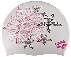 arena Damen Badekappe Sirene (Vorgeformt, Extra Weich, Für lange Haare), Hand Draw-White (23), One Size