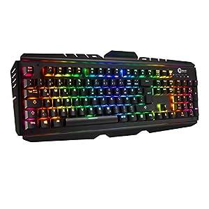 OMBAR Mechanische Tastatur Gaming-Tastatur keyboard blaue Schalter mit acht RGB Hintergrundbeleuchtung, Deutsches Tastaturlayout Anti-Gosting geeignet für Gamer und Büroeinsatz