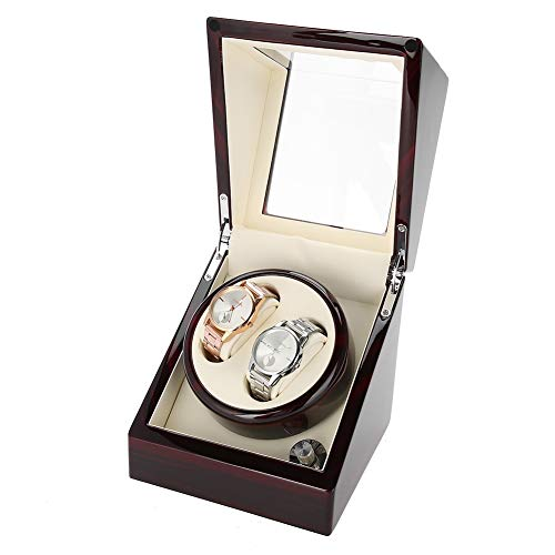 TMISHION Uhrenbeweger für 2 Uhren Uhrenvitrine Uhrenbox mit Lock für automatikuhren Watch Winder Mute Automatische Laufleise