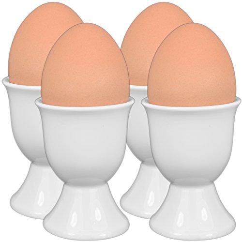 4-tlg. Set Eierbecher aus Prozellan Eierhalter Eierständer weiß 6,5x5x5cm - Spülmaschinenfest