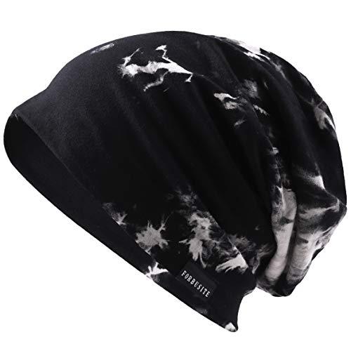VECRY Herren Slouch Hollow Mütze Thin Sommer Cap Strickmützen Beanie Skullcap (Tinte-Schwarz) (Einfach Tinte)