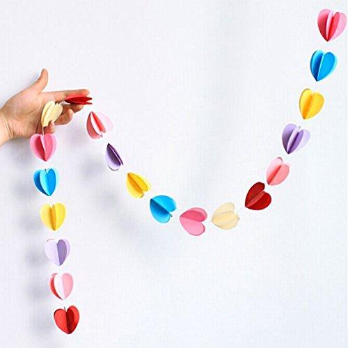 Oblique-Unique® Deckenhänger 3D Girlande Bunt - hängende Papiergirlande Banner Deko - Motiv wählbar (Herz Bunt) (Herzen Bunte)