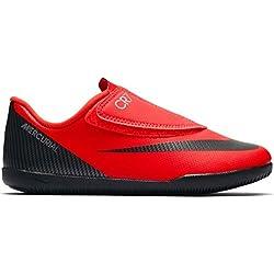 Nike en Forme de Botte de Football cr7Mercurial Vapeur 12Club Semelle Lisse avec Velcro Rouge Enfant, AJ3107-600, Rouge/Noir, 30