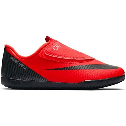 Nike Bota de Futbol CR7 Mercurial Vapor 12 Club Suela Lisa con Velcro Roja Niño