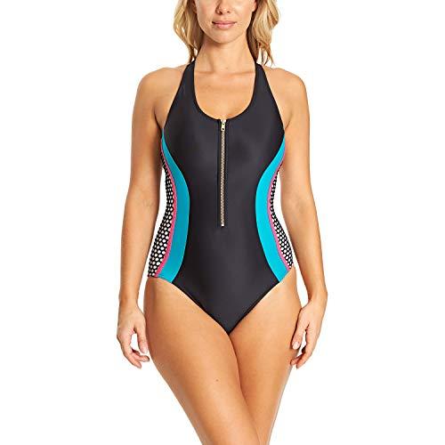Zoggs Elevation Damen Badeanzug mit Reißverschluss vorne, Öko-Stoff XL Schwarz