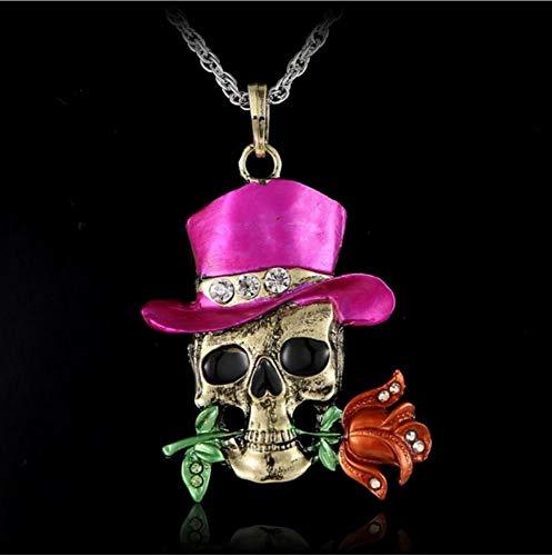 eton Schädel Halloween Halskette Anhänger Mode Halloween Schmuck Großhandel Dominant Charms Blume Halskette Für Frauen Valentinstag ()