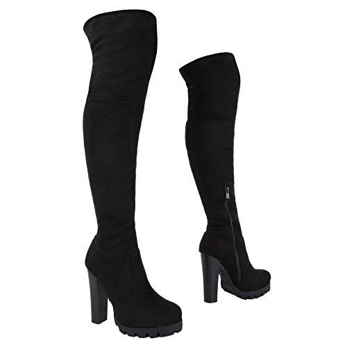 Klassischer Pump Ital Damen High Stiefel Reißverschluss Heels Schwarz Schuhe design Overknee 7wqc7ZPA