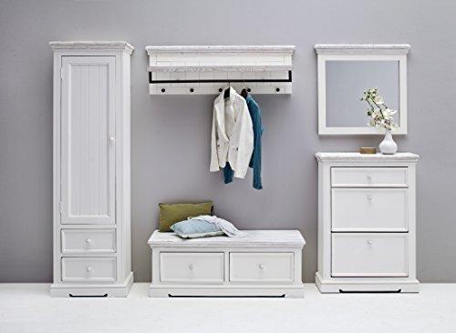 Garderoben Set BIANCE148 massiv, weiß lasiert, sandweiß gebürstet