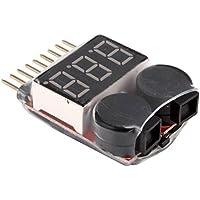 niceeshop(TM) Medidor de Tensión de Batería 1-8s Lipo Digital con Alarma del Zumbador de Baja Tensión, Negro