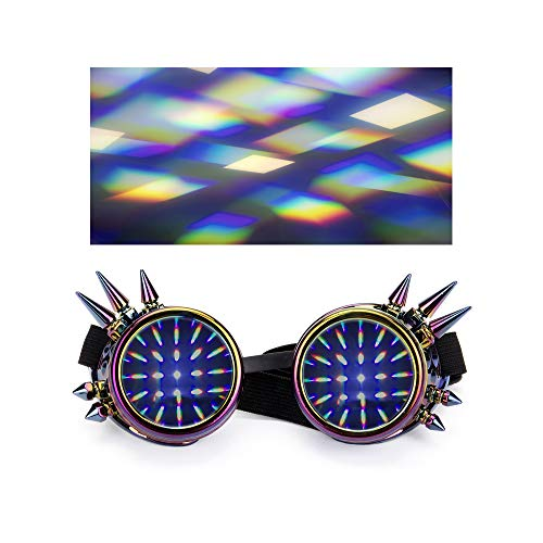 AFUT Beugungsbrille Rave Kaleidoscope Steampunk Goggles Refraction Lens ()