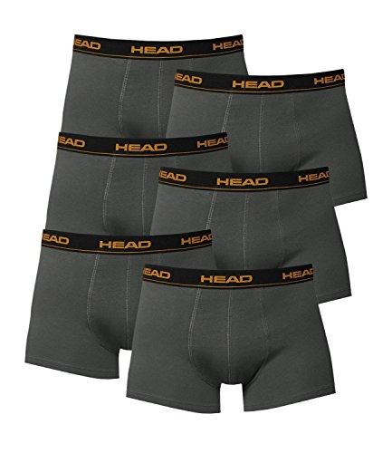 6 Stück HEAD Basic Boxershorts / Hipster / Pant / Short anthrazit grau, Grösse:M - 5 - 50;Farbe:grau