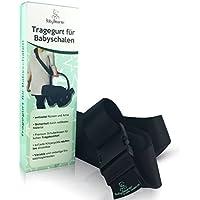 Baby Bearer • Tragehilfe Tragegurt zum Transport von Babyschalen jeder Marke, größenverstellbar, reißfest, komfortables Tragen (5 x 160 cm, Schwarz)