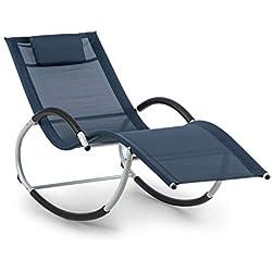 blumfeldt Westwood Rocking Chair Chaise à Bascule - Chaise Longue, 164 x 83 x 65 cm (LxHxP), Ergo Comfort: Surface Ergonomique, Ergo Relax: Coussin réglable et Amovible, Bleu foncé