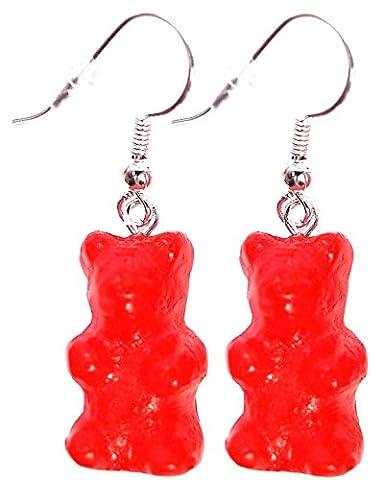 Les Bijoux Acidulés - Boucles d'oreilles bonbon oursons fraise