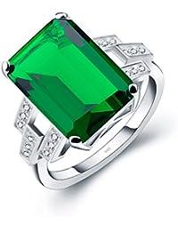 ANGG Mujer Anillo Verde Esmeralda de 5.9ct Plata esterlina 925 Joyería de la boda del compromiso