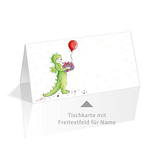 Grußkarte mit Herz TISCHKARTEN mit Einem Drache, Konfetti, Geschenk und Ballon • Passend Zum Kindergeburtstag, Geburtstagsparty, Fasnachtsparty (60 x 105 mm) (8)