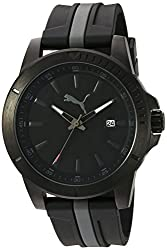 PUMA Quartz Stainless Steel and Polyurethane Automatic Watch, Color:Two Tone (Model: PU911251004)