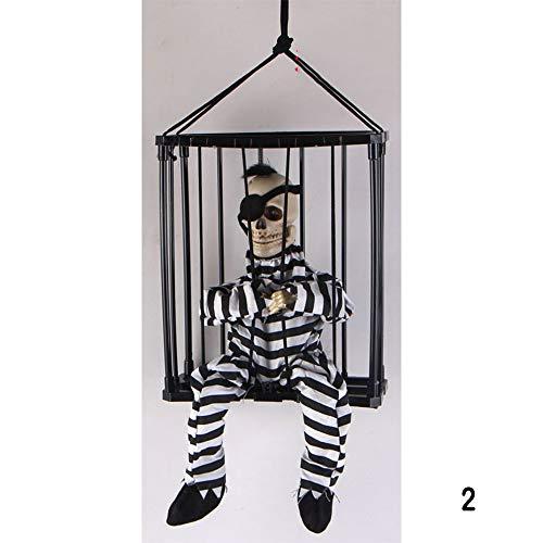 PUDDINGY® Halloween Spukhaus Terror Stütze Trickreich Spielzeug Induktion Erleuchten Stimme Tod Im Gefangenen Gefängnis Hängender Geist,2