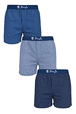 Men's 3 Pair Pringle Plain and Patterned 100% Cotton Woven Boxers