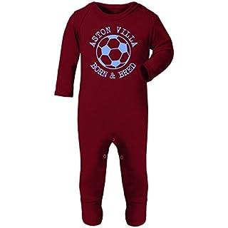 Hat-Trick Designs - Aston Villa Football Baby Romper Sleep Suit-6-12M-Claret-Born & Bred-Unisex Gift