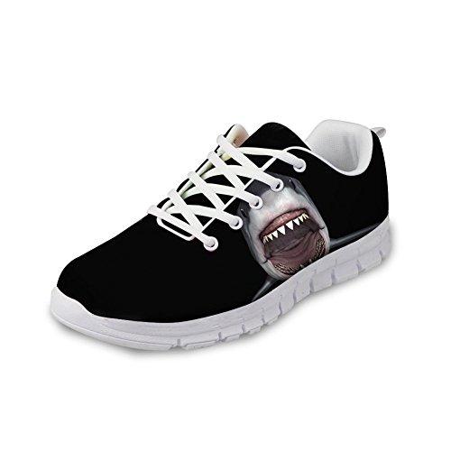 Nopersonality Laufschuhe Damen Casual Sportschuhe Leichte Gym Sneakers Fitness Turnschuhe Mesh Sport Schuhe Funny Shark Pattern, 42 EU